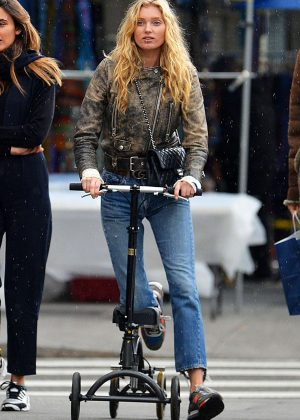 Elsa Hosk in Jeans Scooting Around in NYC