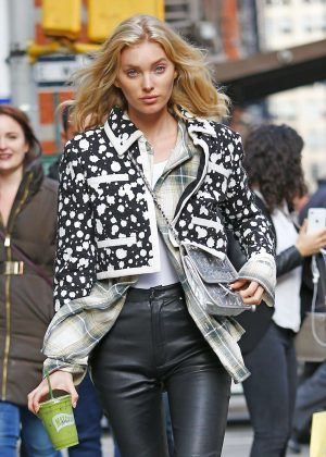 Elsa Hosk in Leather Pants - Out in New York