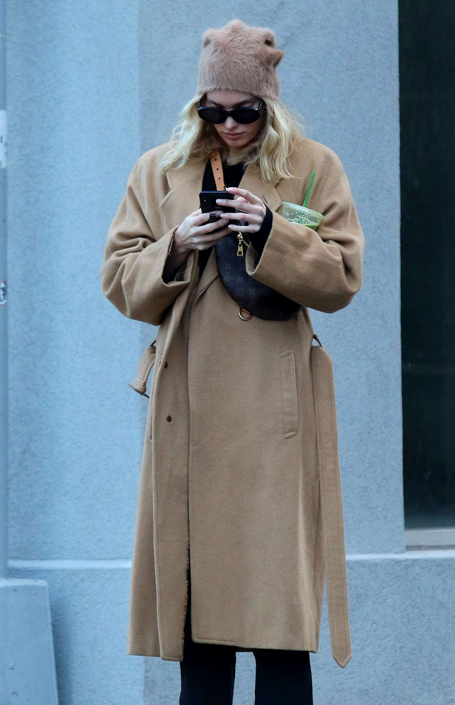 Elsa Hosk in Long Brown Coat - Out in Soho