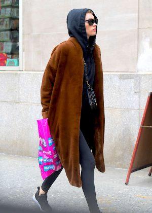Elsa Hosk in Long Coat out in NY