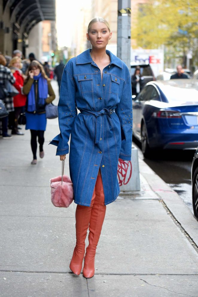 Elsa Hosk in Long Jeans Coat - Out in NYC