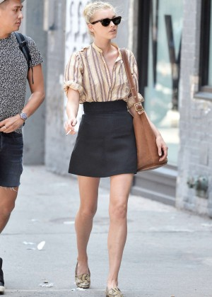 Elsa Hosk in Mini Skirt out in New York