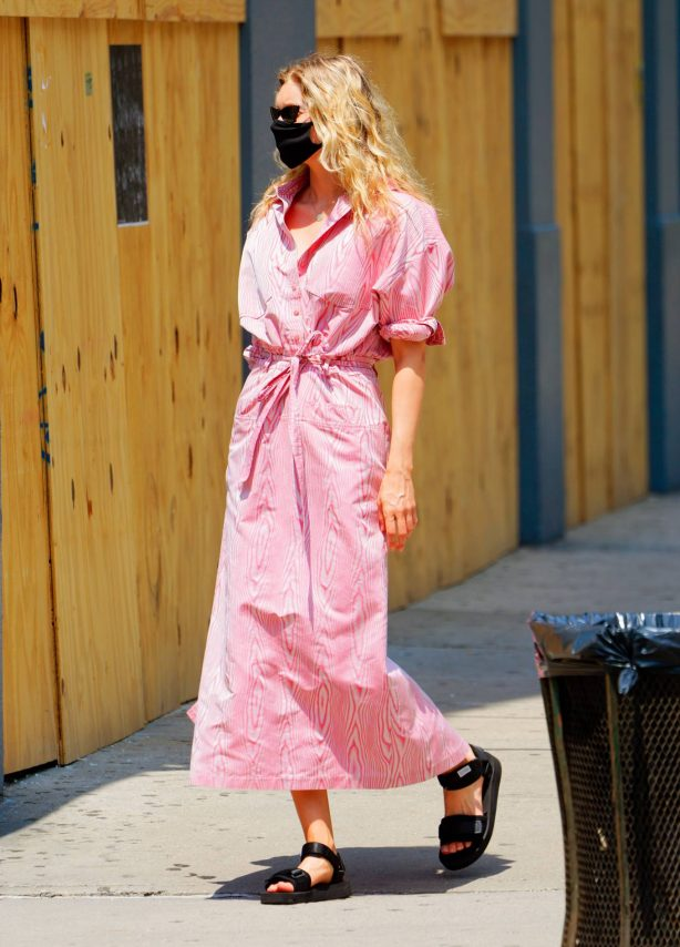 Elsa Hosk in Pink Dress - Out in New York