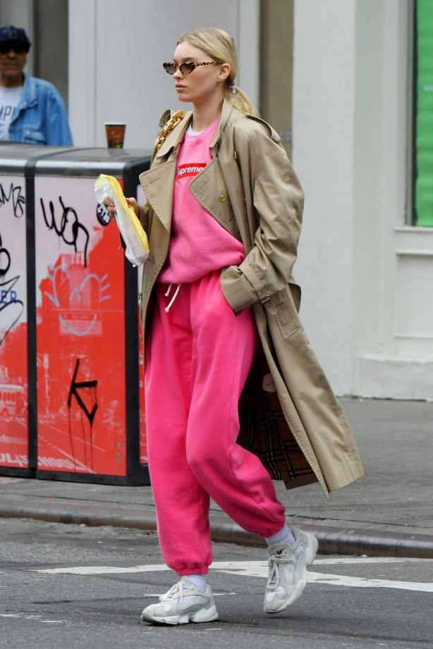 Elsa Hosk in Pink out in Soho, New York