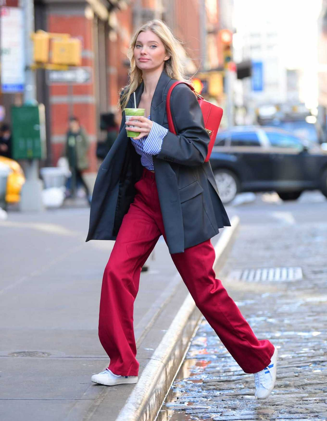 Elsa Hosk - In red oversized pants out in New York City