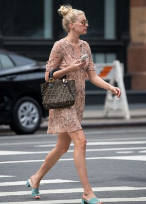 Elsa Hosk in Short Dress Out in New York