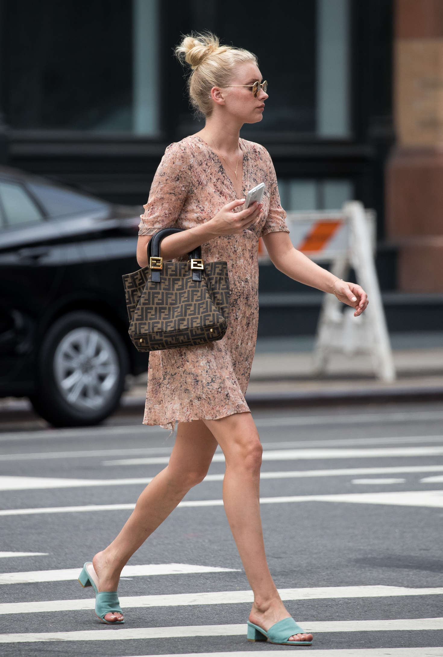 Elsa Hosk in Short Dress Out in New York