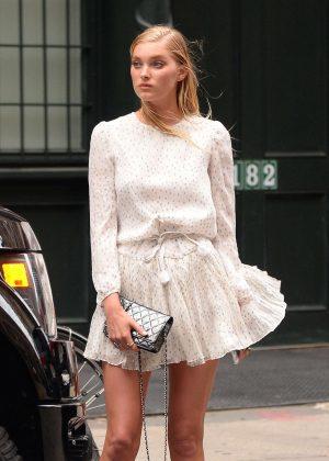 Elsa Hosk in Short Dress out in Tribeca
