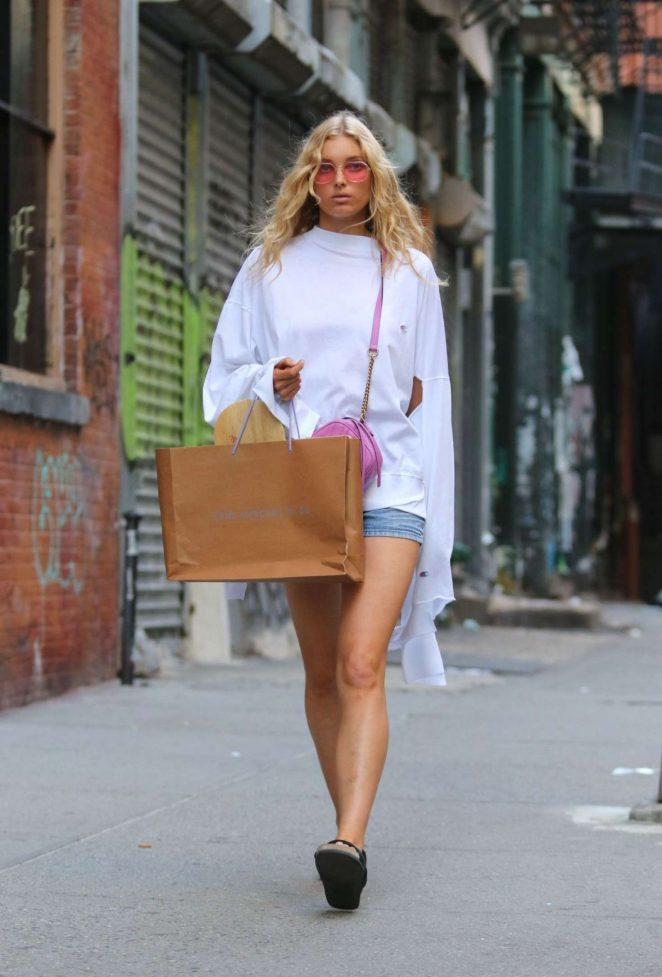 Elsa Hosk in Shorts Out in New York