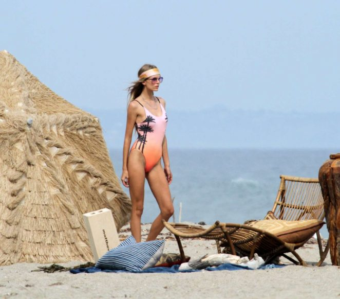 Elsa Hosk in Swimsuit on the beach in Malibu