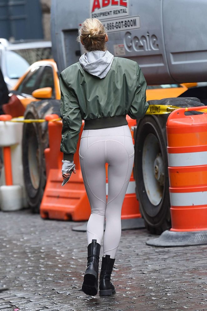 Elsa Hosk in Tights out in Soho