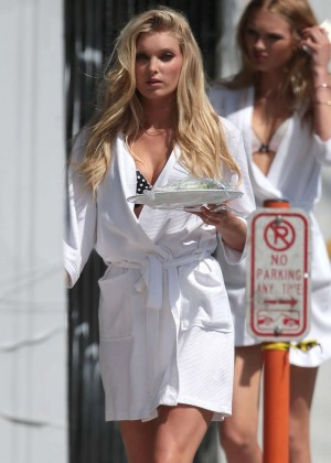 Elsa Hosk on the set of a Victoria's Secret Commercial in Miami