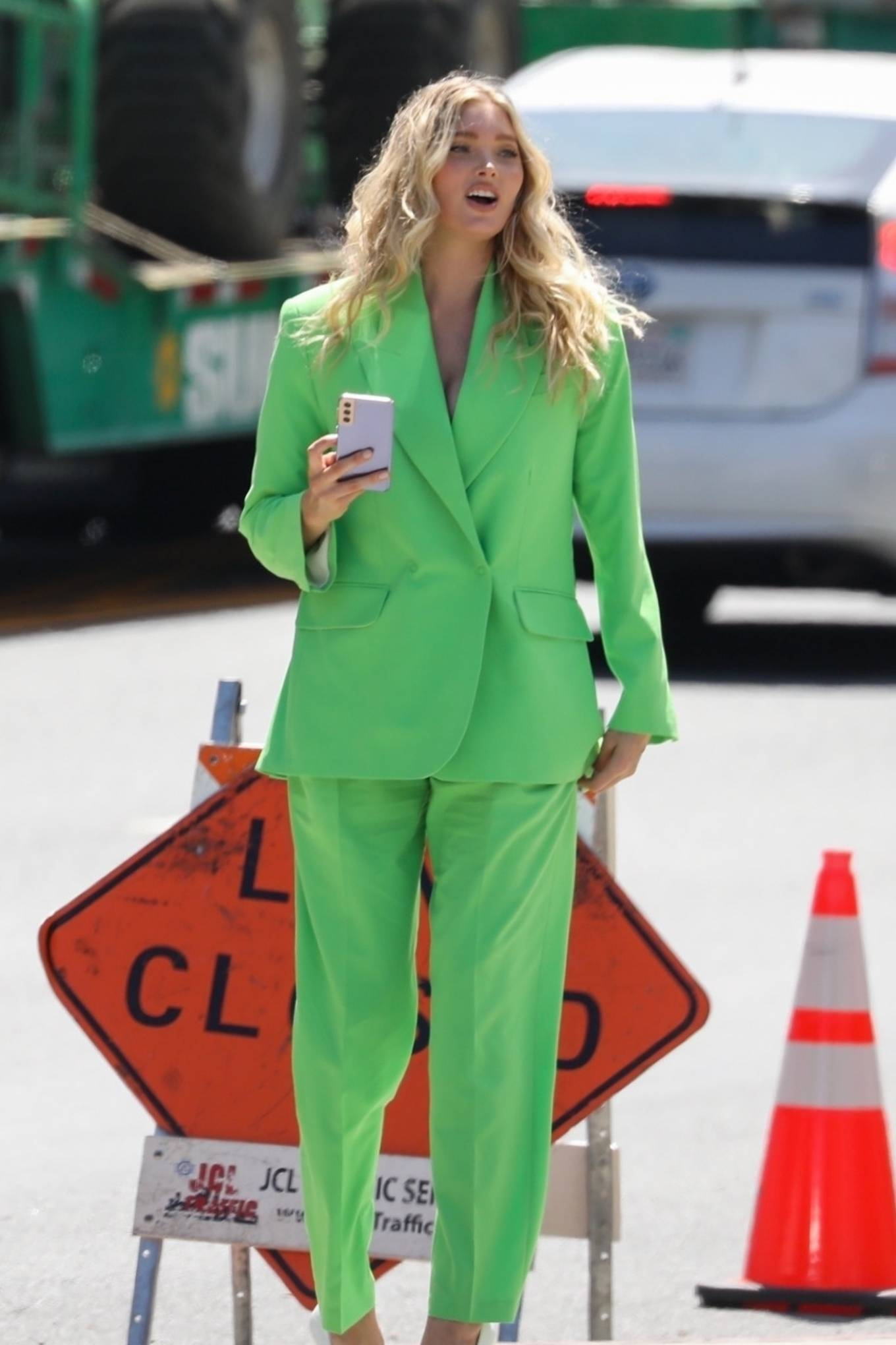 Elsa Hosk - Out in a green pantsuit in Los Angeles