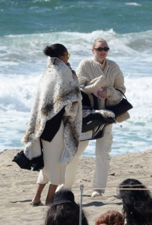 Elsa Hosk - Seen for the first time with her newborn at the beach in Malibu