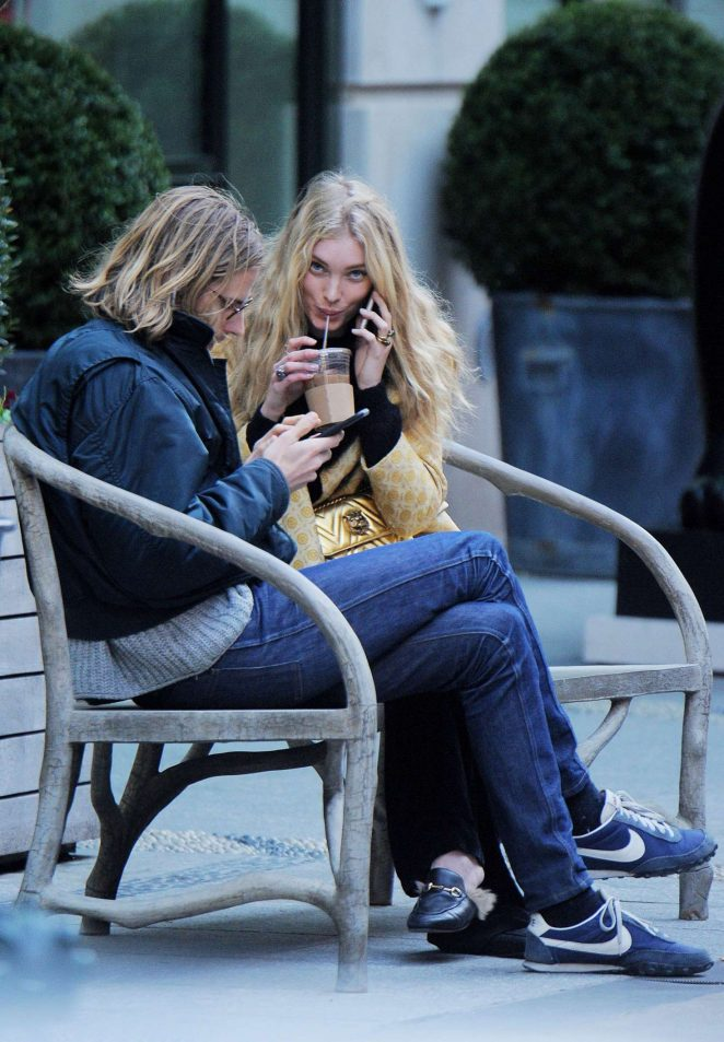 Elsa Hosk - Spotted on a bench in Soho