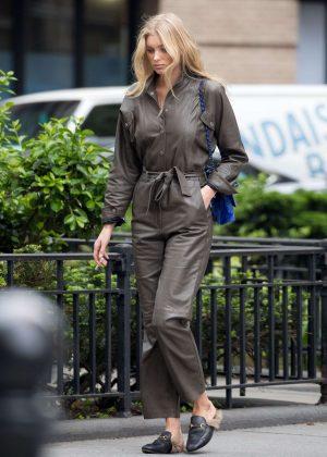 Elsa Hosk walking around in New York City