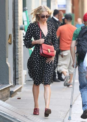 Elsa Hosk - Wearing a polkadot dress out in New York
