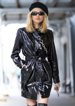Elsa Hosk - Wearing an Elizabeth Sulcer X Miss Sixty coat out in NYC