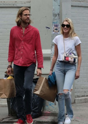 Elsa Hosk with a boyfriend Tom Daly Shopping in New York