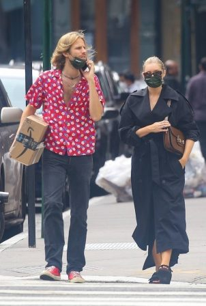 Elsa Hosk with her boyfriend in New York City