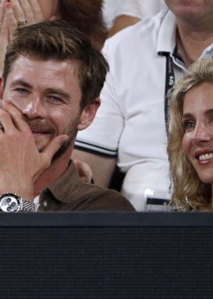 Elsa Pataky and Chris Hemsworth - 2018 Australian Open Final in Melbourne