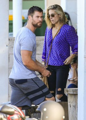 Elsa Pataky and Chris Hemsworth on the Gold Coast in Australia