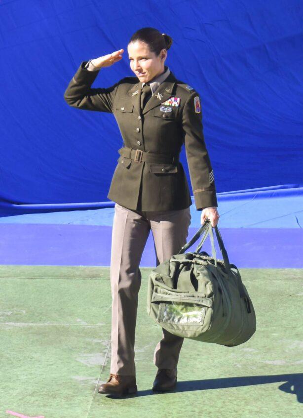 Elsa Pataky - In a military uniform on set of film 'Interceptor' in Sydney