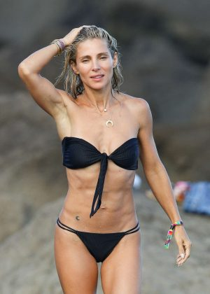 Elsa Pataky in Black Bikini on the beach in Byron Bay