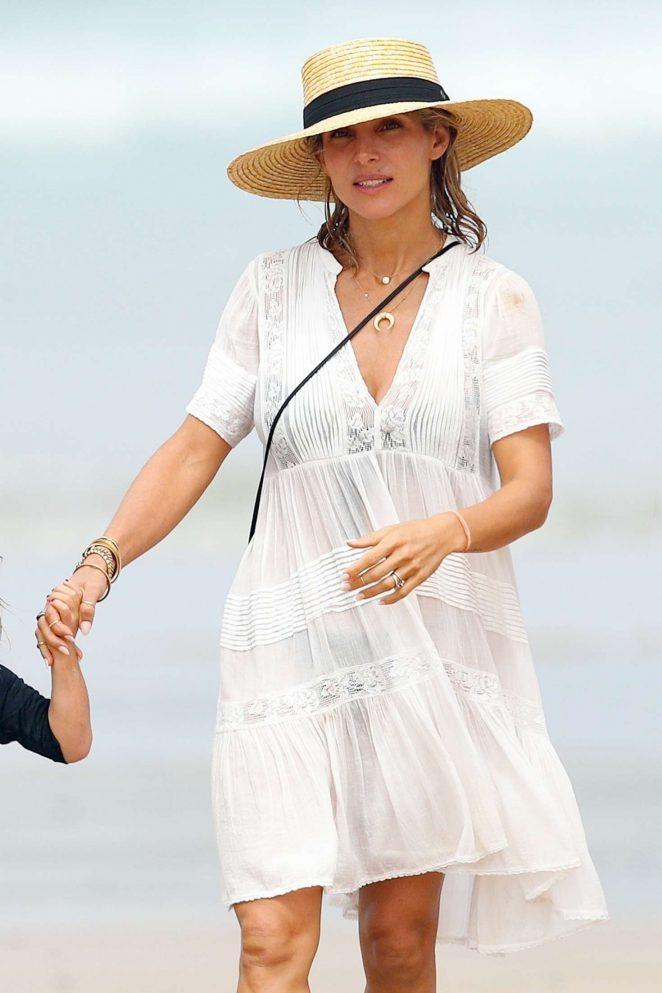 Elsa Pataky in White Dress at the beach in Byron Bay