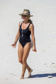 Elsa Pataky - Wearing black swimsuit on vacation at Byron Bay