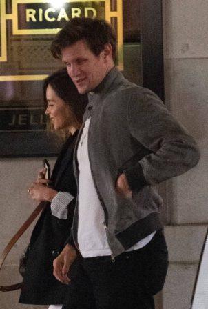 Emilia Clarke and Matt Smith - leave Bob Bob Ricard restaurant in Soho