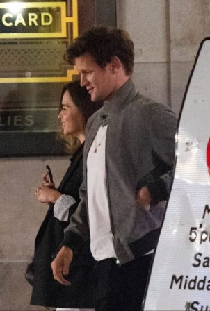 Emilia Clarke and Matt Smith - Seen while they leave Bob Bob Ricard restaurant in Soho