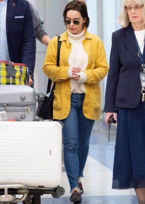 Emilia Clarke - Arrives at JFK Airport in New York
