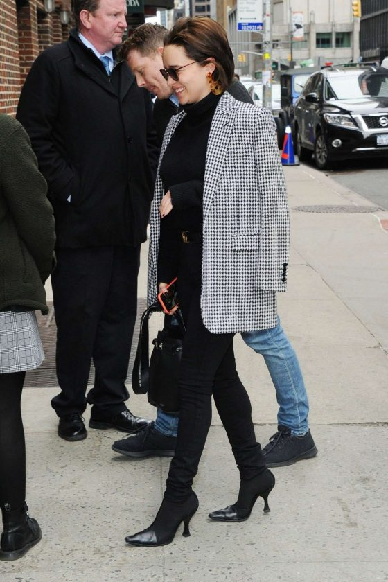 Emilia Clarke: Arrives at The Late Show with Stephen Colbert -01