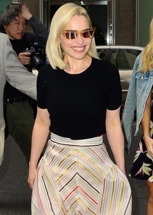 Emilia Clarke - Arriving at Sirius Radio in New York