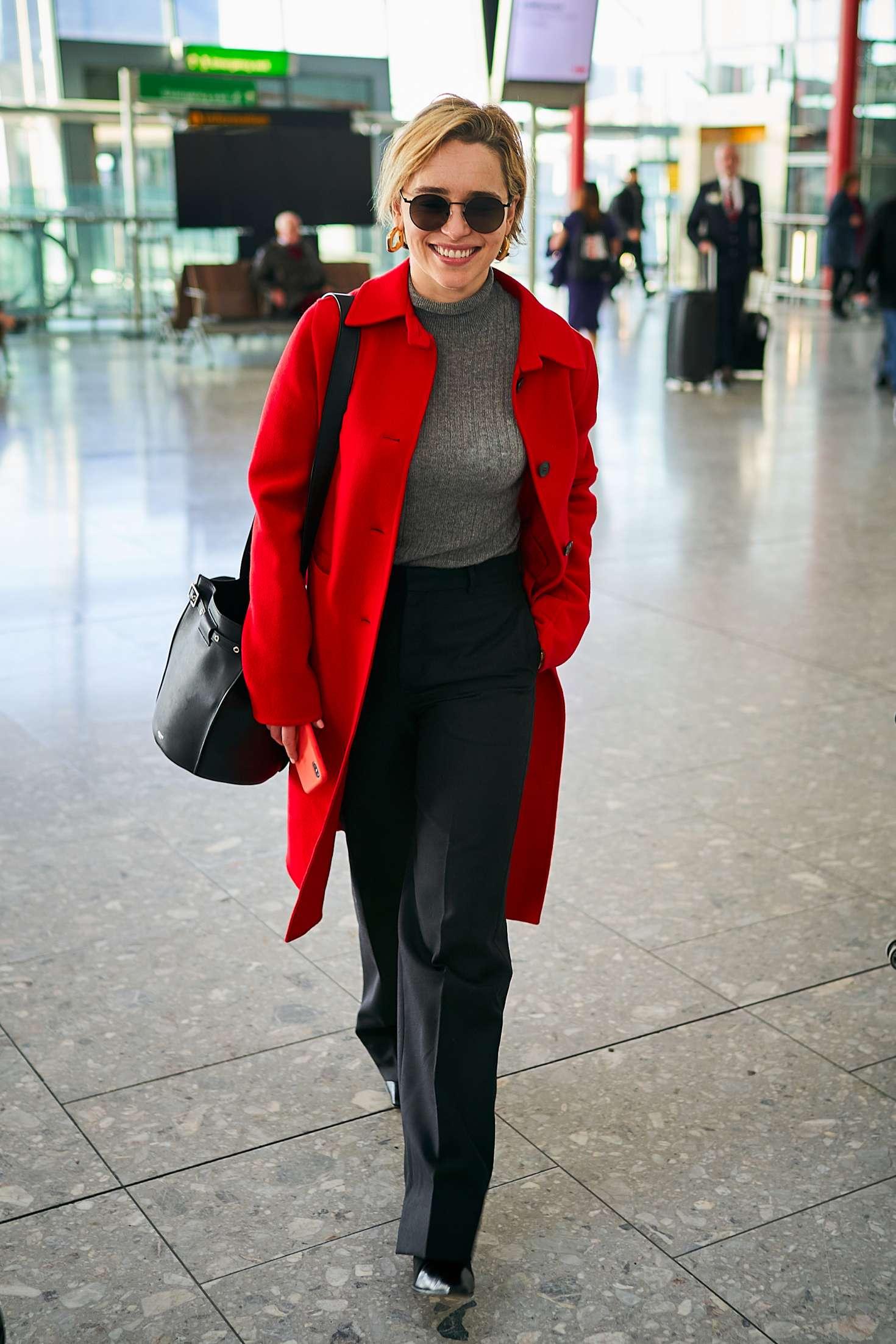 Emilia Clarke 2015 : Emilia Clarke at Heathrow Airport -02