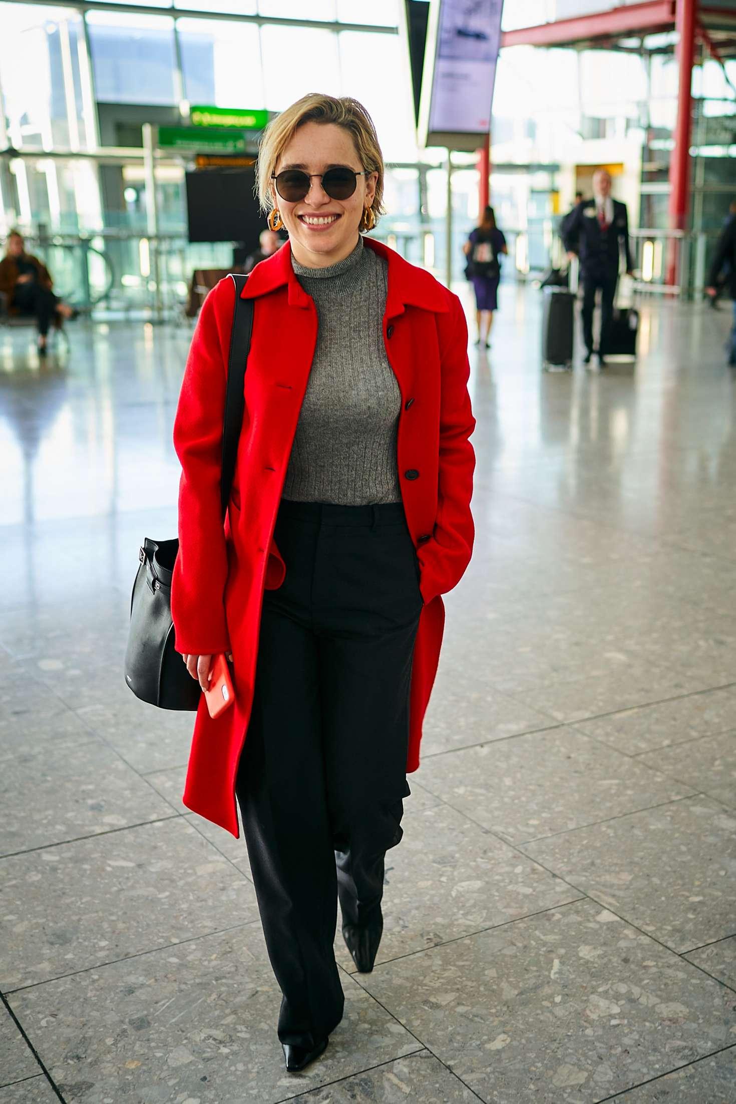 Emilia Clarke 2015 : Emilia Clarke at Heathrow Airport -03