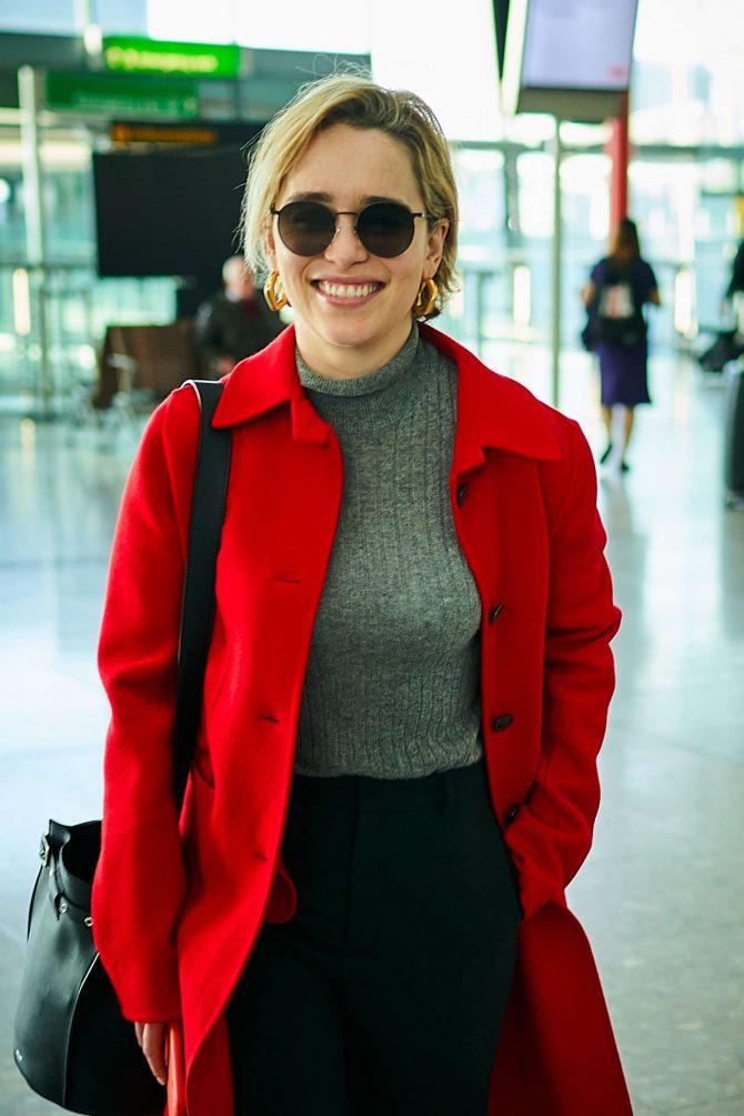Emilia Clarke at Heathrow Airport in London