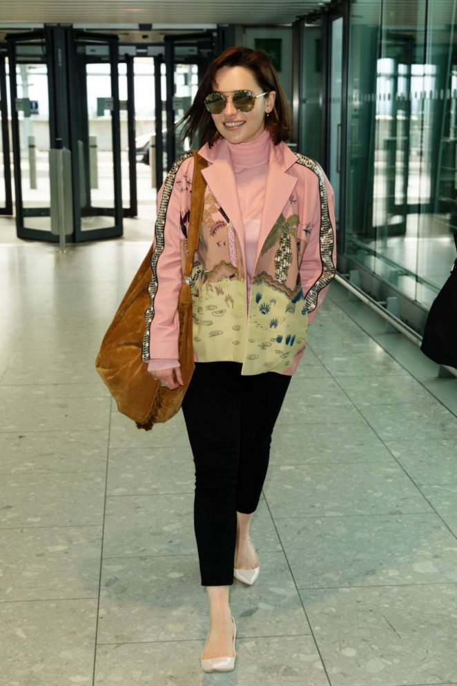 Emilia Clarke at Heathrow Airport in London