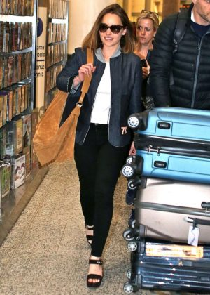 Emilia Clarke at Pearson International Airport in Toronto