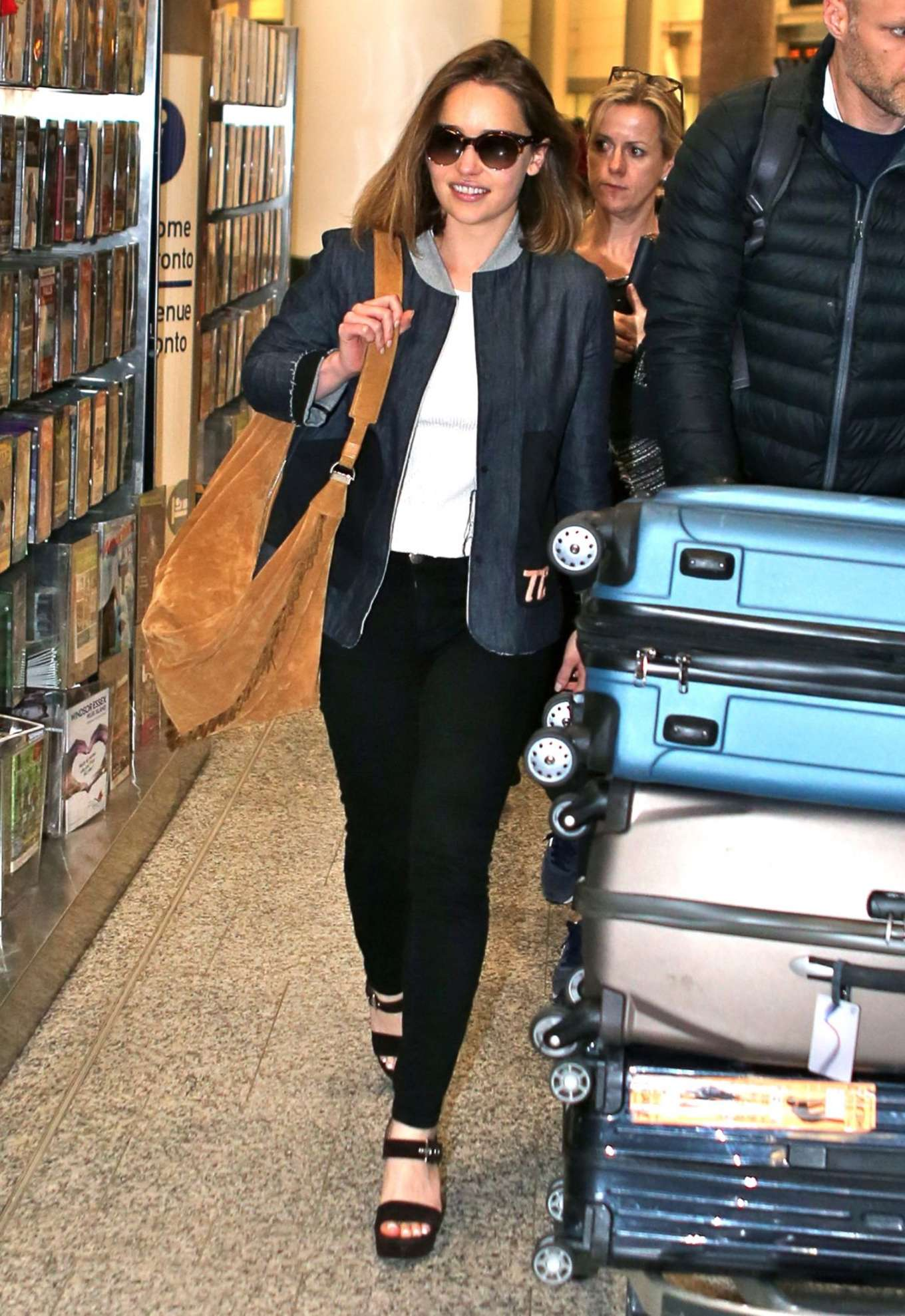 Emilia Clarke at Pearson International Airport in Toronto