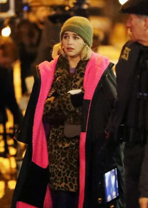 Emilia Clarke - Filming 'Last Christmas' in East London