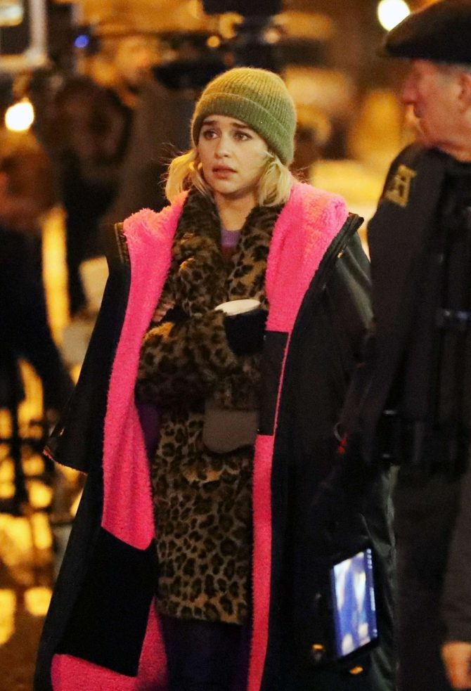 Emilia Clarke - Filming 'Last Christmas' in East London
