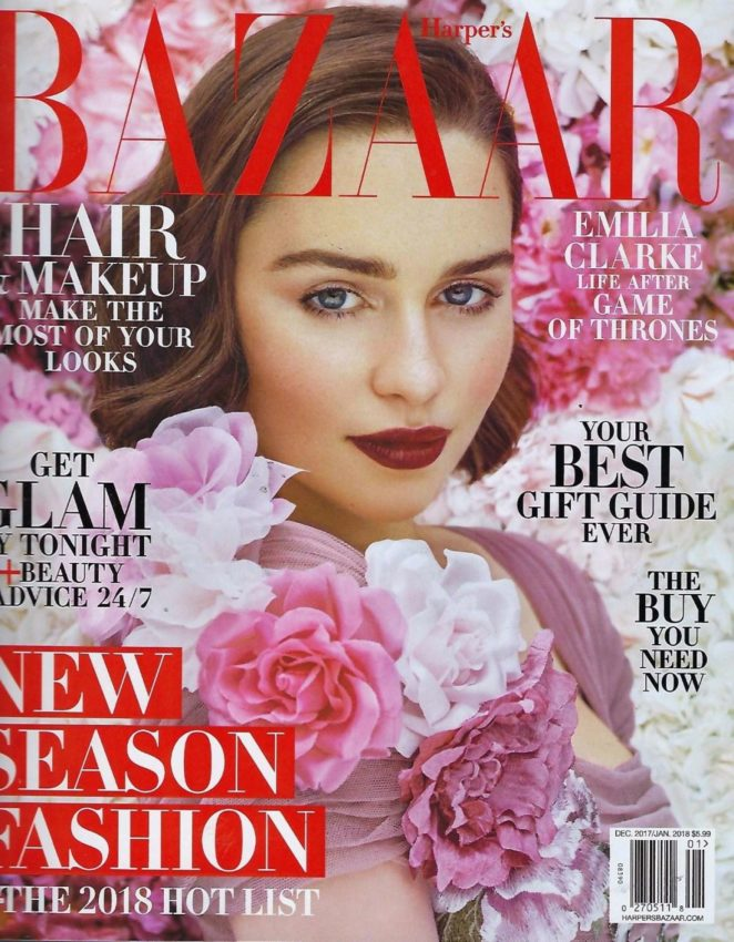 Emilia Clarke -  Harper's Bazaar US Cover (December 2017/January 2018)
