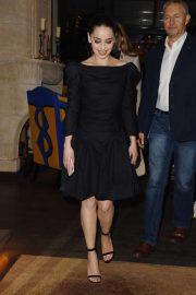 Emilia Clarke in Black Dress - Out in London