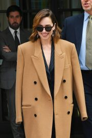 Emilia Clarke in Brown Coat - Out and about in New York