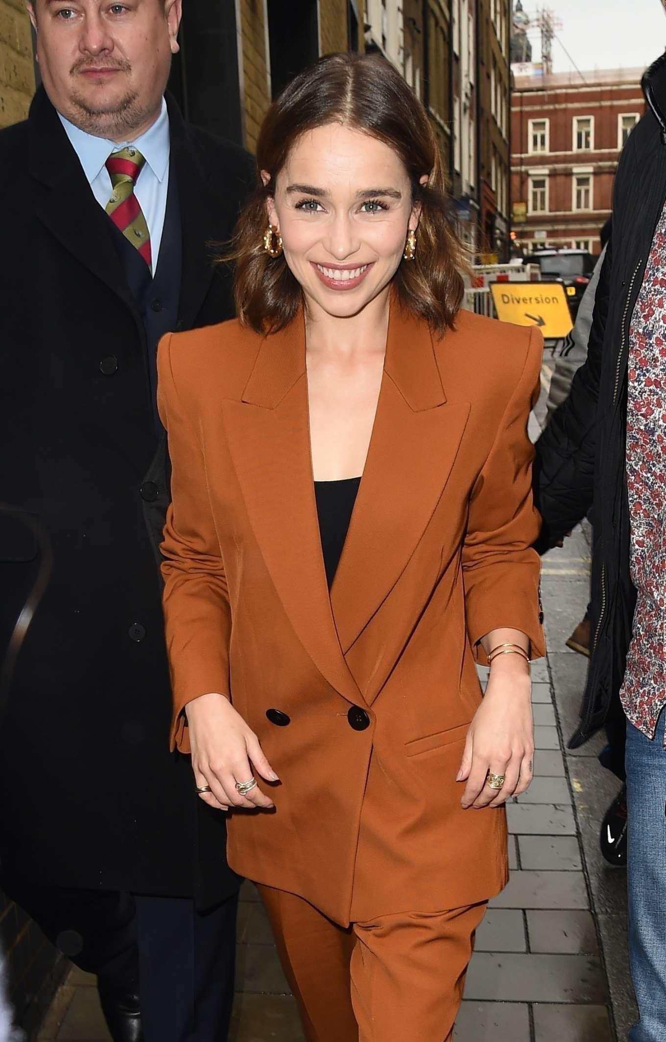 Emilia Clarke in Brown Pantsuit - Arriving back at her hotel in London