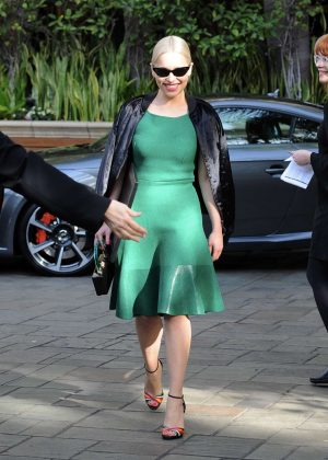 Emilia Clarke in Green Dress - Leaving hotel in Beverly Hills