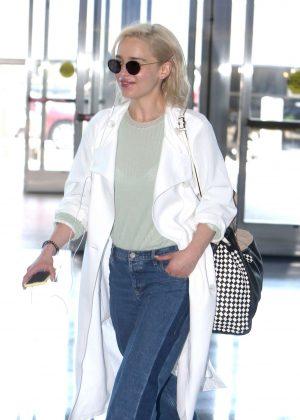 Emilia Clarke in Jeans at JFK Airport in New York