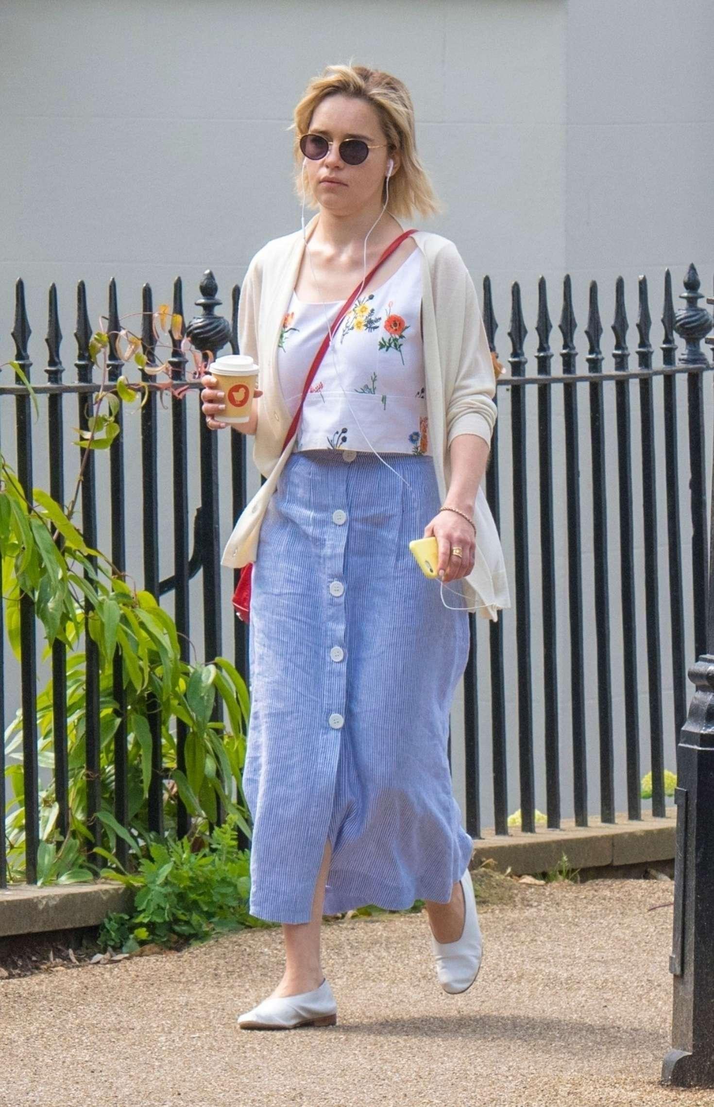 Emilia Clarke in Long Skirt - Grabs a coffee in London